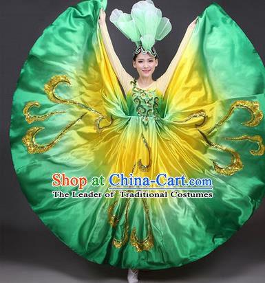 Traditional Chinese Modern Dance Compere Performance Costume, China Opening Dance Chorus Full Dress, Classical Dance Big Swing Green Dress for Women