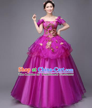 Traditional Chinese Modern Dance Compere Performance Costume, China Opening Dance Chorus Full Dress, Classical Dance Big Swing Purple Dress for Women