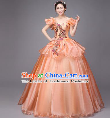Traditional Chinese Modern Dance Compere Performance Costume, China Opening Dance Chorus Full Dress, Classical Dance Big Swing Orange Dress for Women