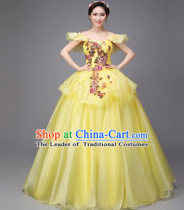 Traditional Chinese Modern Dance Compere Performance Costume, China Opening Dance Chorus Full Dress, Classical Dance Big Swing Yellow Dress for Women