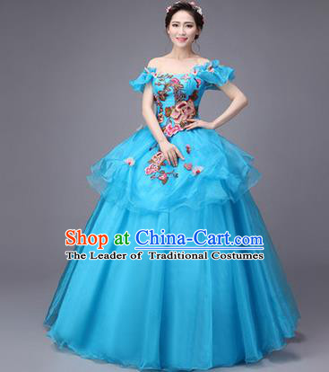 Traditional Chinese Modern Dance Compere Performance Costume, China Opening Dance Chorus Full Dress, Classical Dance Big Swing Blue Dress for Women