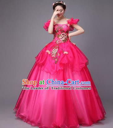 Traditional Chinese Modern Dance Compere Performance Costume, China Opening Dance Chorus Full Dress, Classical Dance Big Swing Rosy Dress for Women