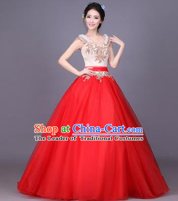 Traditional Chinese Modern Dance Compere Performance Costume, China Opening Dance Chorus Bride Wedding Full Dress, Classical Dance Big Swing Red Dress for Women