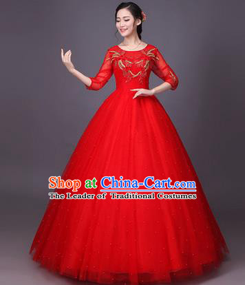 Traditional Chinese Modern Dance Compere Performance Costume, China Opening Dance Chorus Bride Wedding Red Full Dress, Classical Dance Big Swing Bubble Dress for Women