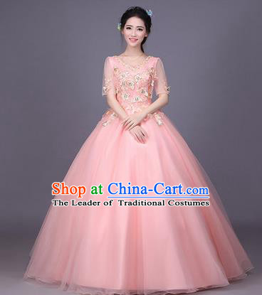 Traditional Chinese Modern Dance Compere Performance Costume, China Opening Dance Chorus Bride Wedding Pink Full Dress, Classical Dance Big Swing Bubble Dress for Women