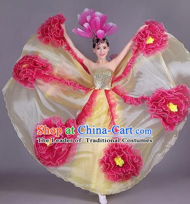 Traditional Chinese Modern Dance Compere Performance Costume, China Opening Dance Chorus Big Swing Flowers Full Dress, Classical Dance Yellow Dress for Women