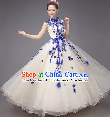 Traditional Chinese Modern Dance Compere Performance Costume, China Opening Dance Chorus Big Swing Full Dress, Classical Dance Blue Plum Blossom Dress for Women
