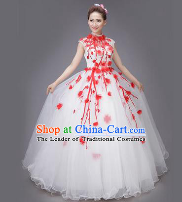 Traditional Chinese Modern Dance Compere Performance Costume, China Opening Dance Chorus Big Swing Full Dress, Classical Dance Red Plum Blossom Dress for Women