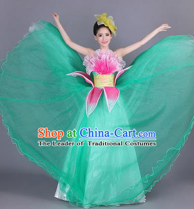 Traditional Chinese Modern Dance Compere Performance Costume, China Opening Dance Chorus Big Swing Full Dress, Classical Lotus Dance Green Dress for Women