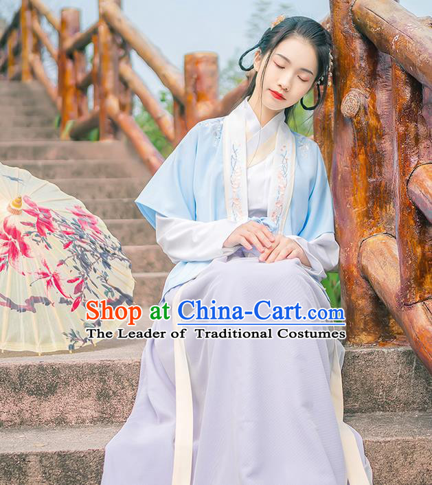 Traditional Chinese Tang Dynasty Imperial Princess Costume, Elegant Hanfu Clothing Blouse and Skirts Suspenders Complete Set, Chinese Ancient Young Lady Dress for Women