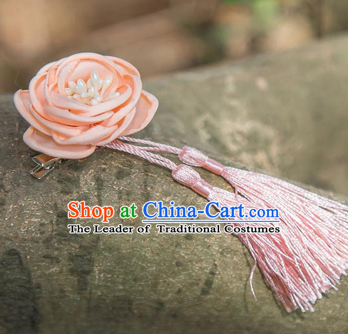 Traditional Chinese Ancient Wedding Hair Accessories, China Hanfu Pink Flowers Tassel Hairpins for Women