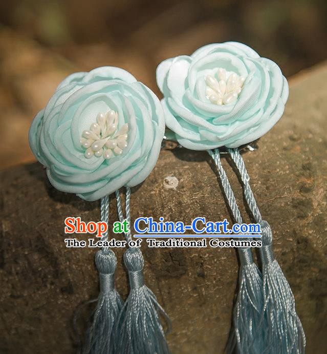 Traditional Chinese Ancient Wedding Hair Accessories, China Hanfu Blue Flowers Tassel Hairpins for Women