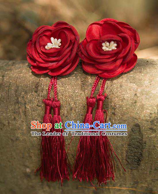 Traditional Chinese Ancient Wedding Hair Accessories, China Hanfu Red Flowers Tassel Hairpins for Women