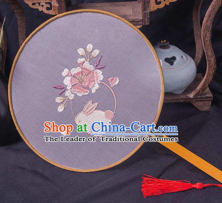 Traditional Chinese Ancient Hanfu Palace Princess Printing Flower Round Fans for Women