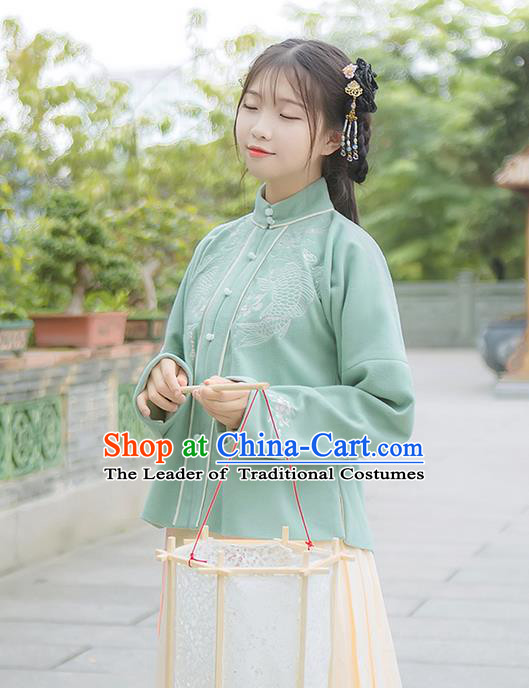 Traditional Chinese Ming Dynasty Young Lady Costume, Elegant Hanfu Clothing Embroidered Stand Collar Blouse, Chinese Ancient Princess Clothing for Women