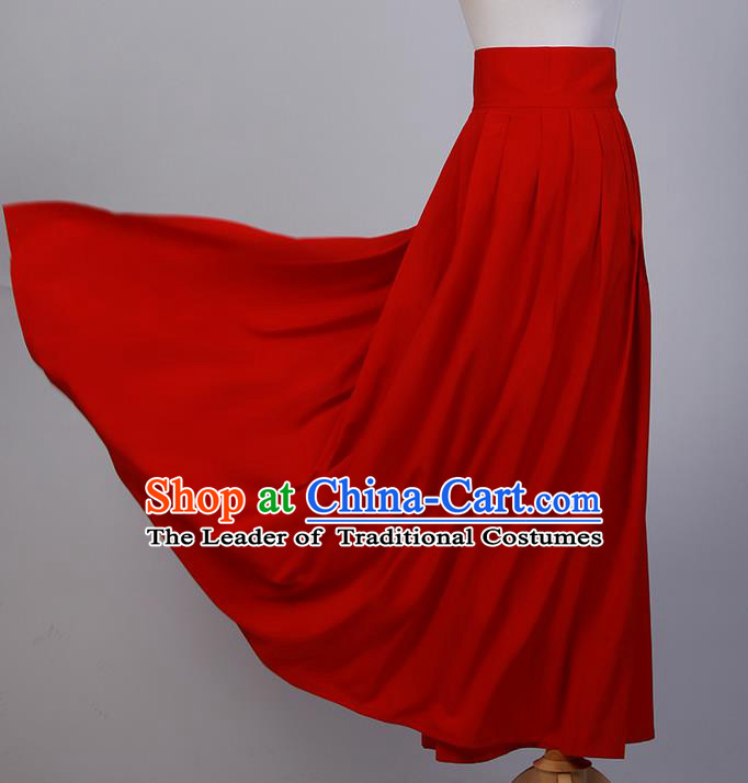Traditional Chinese Han Dynasty Palace Princess Costume, Elegant Hanfu Clothing Red Middle-Skirt, Chinese Ancient Princess Clothing for Women