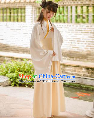 Traditional Chinese Han Dynasty Palace Princess Costume, Elegant Hanfu Clothing Beige Middle-Skirt, Chinese Ancient Princess Clothing for Women