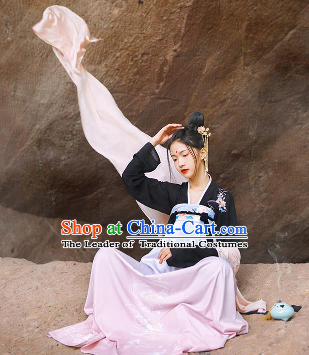 Traditional Chinese Tang Dynasty Palace Princess Costume, Elegant Hanfu Clothing Embroidered Crane Dress, Chinese Ancient Princess Clothing for Women