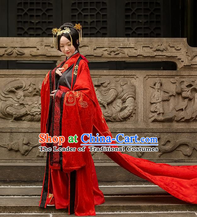 Traditional Chinese Han Dynasty Palace Empress Wedding Costume Complete Set, Elegant Hanfu Clothing Bride Embroidered Dress, Chinese Ancient Queen Clothing for Women