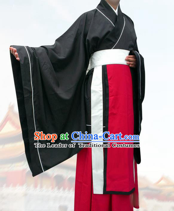 Traditional Chinese Han Dynasty Minister Costume, Elegant Hanfu Clothing Chinese Ancient Gwanbok for Men