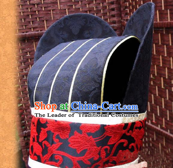 Traditional Chinese Han Dynasty Minister Hat, Elegant Hanfu Chinese Ancient Courtiers Headwear for Men