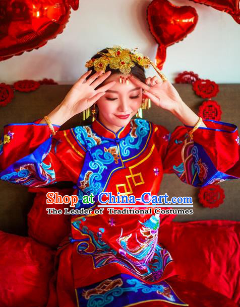 Traditional Chinese Wedding Costume Xiuhe Suits Wedding Bride Red Suit, Ancient Chinese Toast Dress Hand Embroidered Dragon and Phoenix Clothing Longfeng Flown for Women