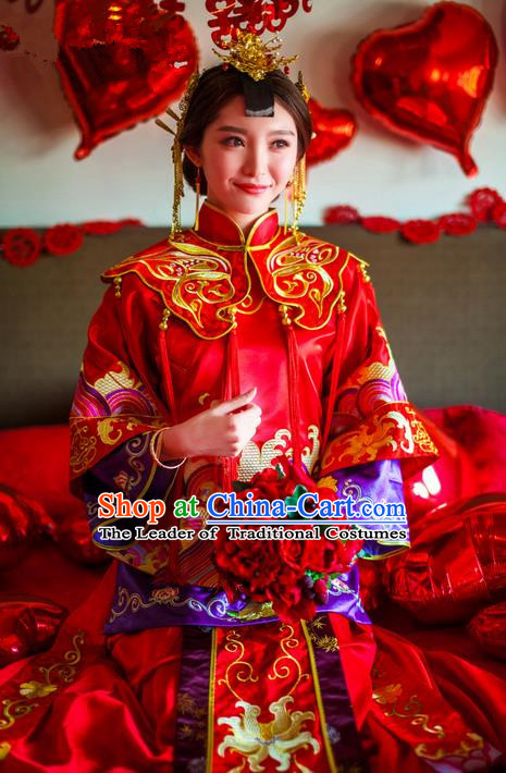 Traditional Chinese Wedding Costume Xiuhe Suits Wedding Bride Red Suit, Ancient Chinese Toast Dress Hand Embroidered Clothing Longfeng Flown for Women
