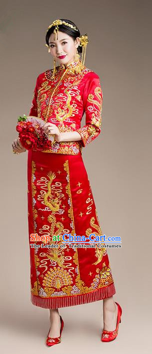 Traditional Chinese Wedding Costume Xiuhe Suits Wedding Bride Slim Red Suit, Ancient Chinese Toast Dress Hand Embroidered Clothing Longfeng Flown for Women