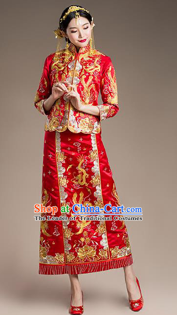 Traditional Chinese Wedding Costume, Traditional Xiuhe Suits Wedding Bride Dress, Ancient Chinese Toast Dress Embroidered Dragon and Phoenix Clothing for Women