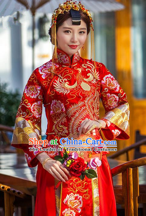 Traditional Chinese Wedding Costume Xiuhe Suits Wedding Red Suit, Ancient Chinese Bride Toast Dress Hand Embroidered Clothing Longfeng Flown for Women