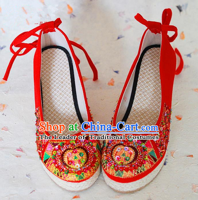Traditional Chinese Wedding Shoes Xiuhe Red Shoes, Ancient Chinese Bride Embroidered Shoes for Women