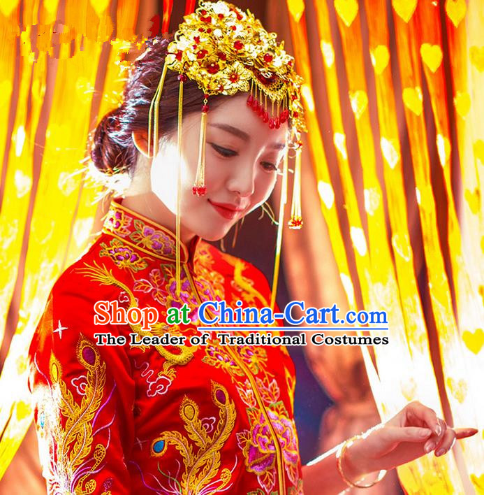 Traditional Chinese Wedding Xiuhe Suit Hair Accessories, Cnina Style Phoenix Coronet, Ancient Chinese Bride Tassel Hairpins for Women