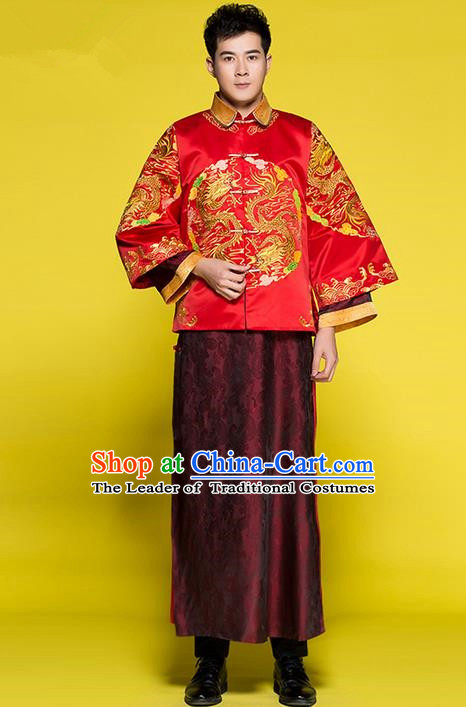 Traditional Chinese Wedding Costume Tang Suits Wedding Red Clothing, Ancient Chinese Bridegroom Toast Long Flown for Men