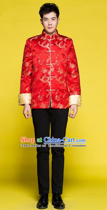 Traditional Chinese Wedding Costume Tang Suits Wedding Red Clothing, Ancient Chinese Bridegroom Embroidered Chinese Tunic Suit for Men