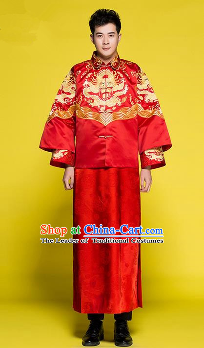 Traditional Chinese Wedding Costume Tang Suits Wedding Red Clothing, Ancient Chinese Bridegroom Toast Embroidered Dragon Long Robes for Men