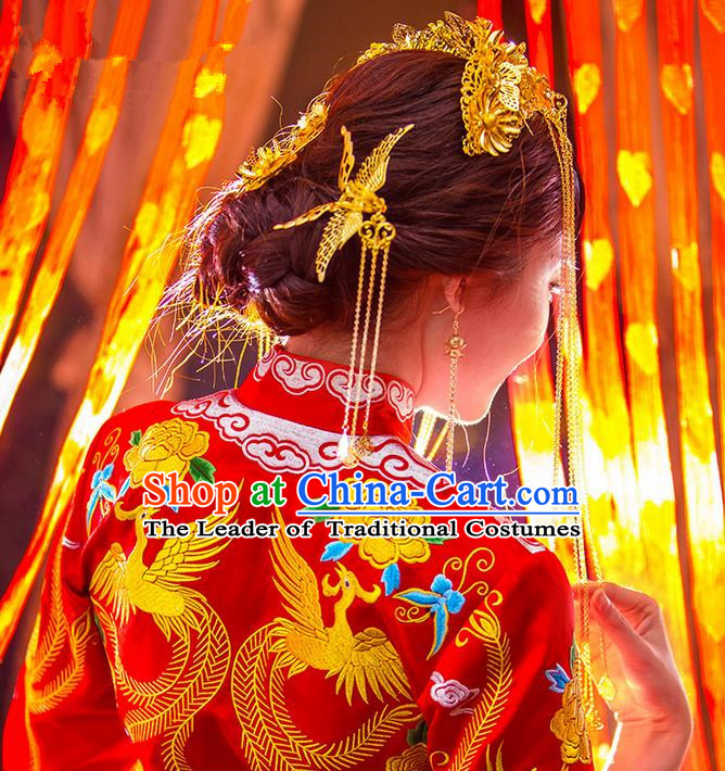 Traditional Chinese Wedding Xiuhe Suit Hair Accessories, Cnina Style Phoenix Coronet Step Shake, Ancient Chinese Bride Tassel Hairpins for Women