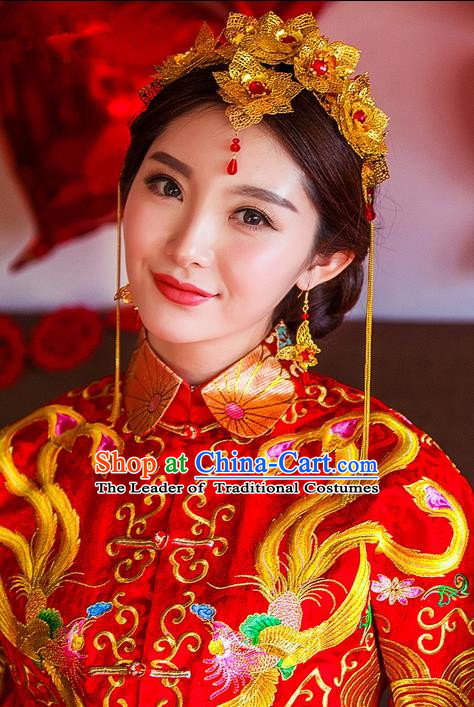 Traditional Chinese Wedding Xiuhe Suit Hair Accessories Hair Comb, Cnina Style Hanfu Phoenix Coronet Tassel Step Shake, Ancient Chinese Bride Hairpins Headwear for Women