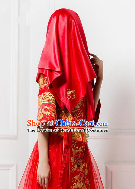 Traditional Chinese Wedding Costume Xiuhe Red Bridal Veil, Ancient Chinese Bride Embroidered Chinese Knot Red Head Cover for Women