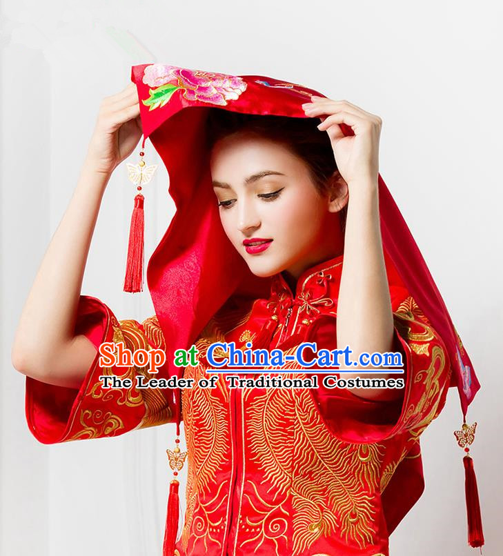 Traditional Chinese Wedding Costume Xiuhe Red Bridal Veil, Ancient Chinese Bride Embroidered Peony Chinese Knot Red Head Cover for Women