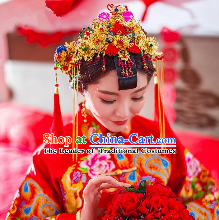 Traditional Chinese Wedding Xiuhe Suit Hair Accessories, Cnina Style Hanfu Phoenix Coronet Tassel Step Shake, Ancient Chinese Bride Hairpins Headwear for Women