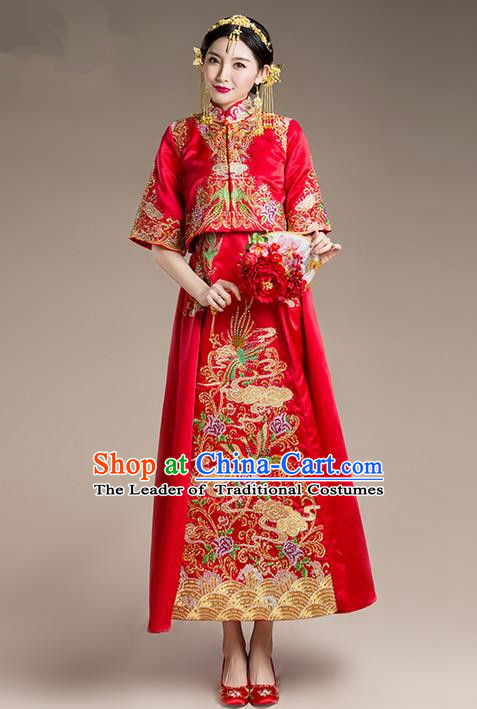 Traditional Chinese Wedding Costume Xiuhe Suit Clothing, Ancient Chinese Bride Embroidered Flowers Phoenix Robes Cheongsam Dress for Women