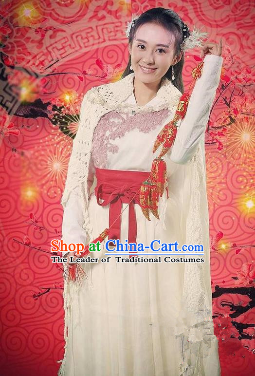 Traditional Chinese Song Dynasty Young Lady Costume, Chinese Ancient Hanfu Dress Jiang Hu Swordswoman Clothing for Women