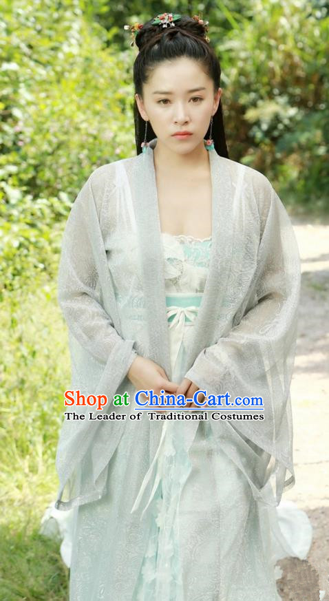 Traditional Ancient Chinese Imperial Princess Costume, Elegant Hanfu Clothing Chinese Tang Dynasty Peri Tailing Embroidered Dress for Women