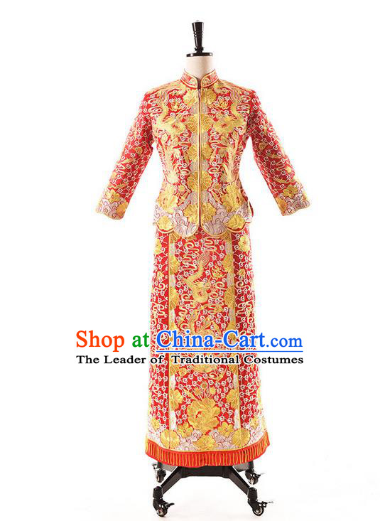 Traditional Chinese Wedding Costume XiuHe Suit Clothing Dragon and Phoenix Flown Bottom Drawer, Ancient Chinese Bride Hand Embroidered Cheongsam Dress for Women