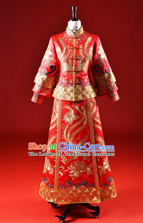 Traditional Chinese Wedding Costume XiuHe Suit Clothing Dragon and Phoenix Flown Wedding Dress, Ancient Chinese Bride Hand Embroidered Phoenix Cheongsam Dress for Women