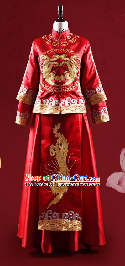 Traditional Chinese Wedding Costume XiuHe Suit Clothing Longfeng Flown Wedding Dress, Ancient Chinese Bride Hand Embroidered Phoenix Cheongsam Dress for Women