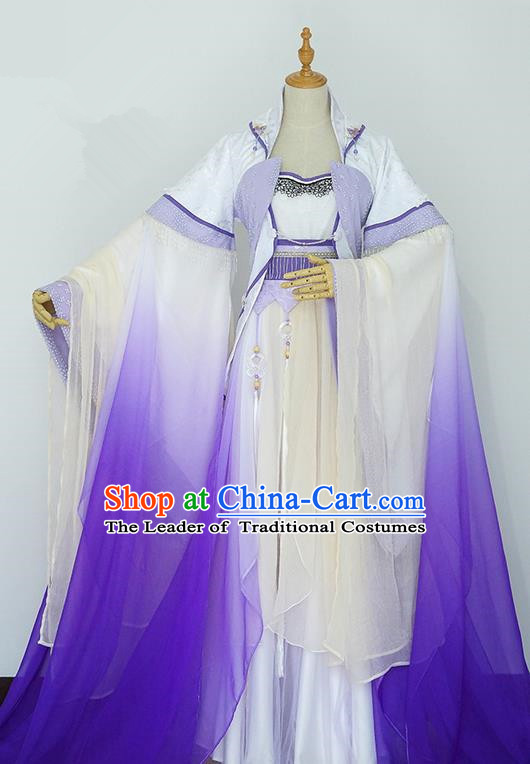 Traditional Chinese Tang Dynasty Fairy Costume, Elegant Hanfu Cosplay Peri Clothing Ancient Chinese Imperial Princess Dance Dress for Women