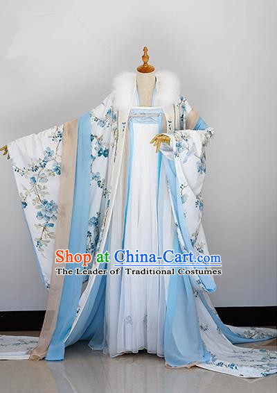 Traditional Chinese Tang Dynasty Aristocratic Miss Costume, Elegant Hanfu Cosplay Peri Clothing Ancient Chinese Imperial Princess Dress for Women