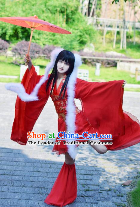 Traditional Chinese Cartoon Peri Costume, Chinese Ancient Hanfu Young Lady Red Dress Clothing for Women