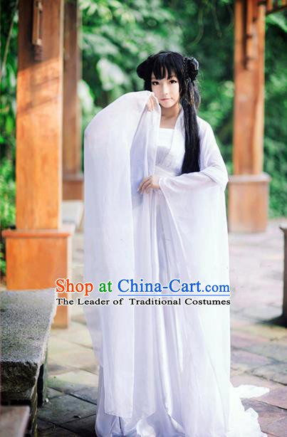 Traditional Chinese Cosplay Peri Costume, Chinese Ancient Hanfu Tang Dynasty Imperial Princess White Dress Clothing for Women